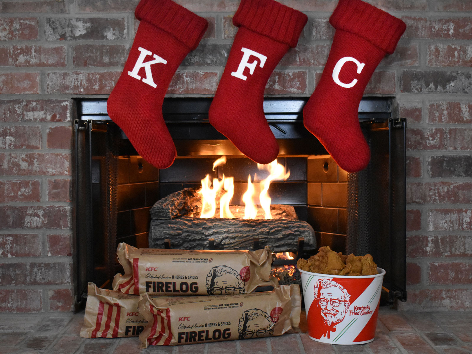 KFC Put Its 11 Herbs & Spices into a Firelog for Christmas