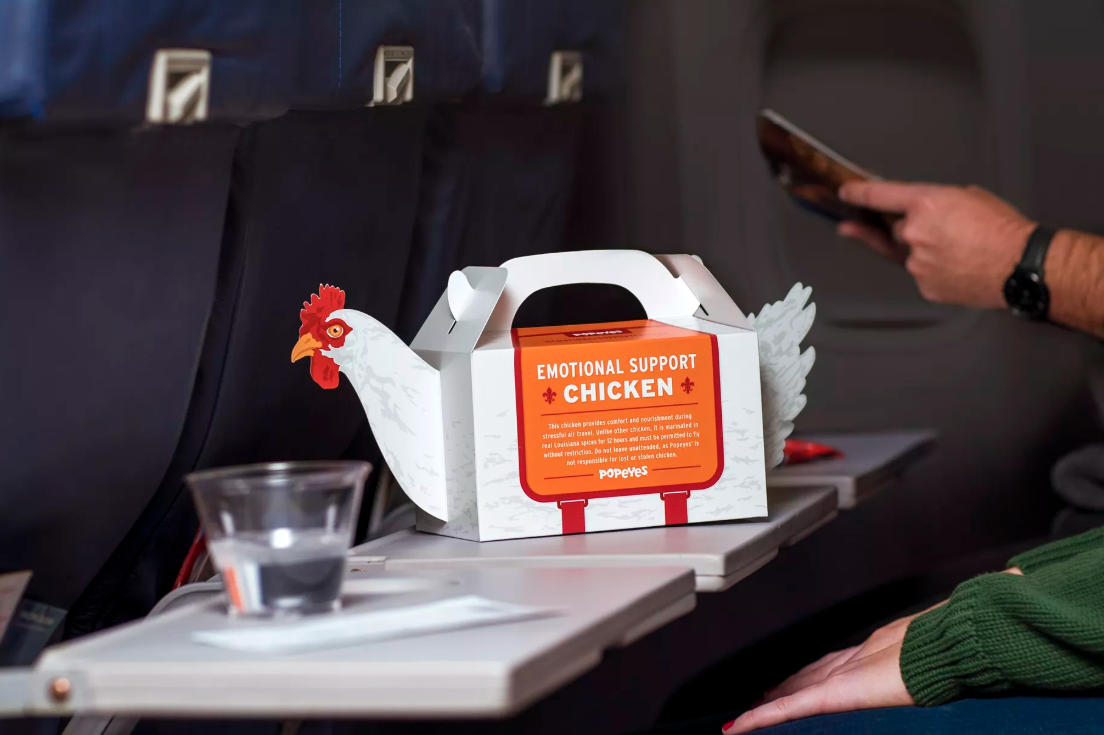 Popeyes Sells Emotional Support Chickens to Stressed Holiday Travelers