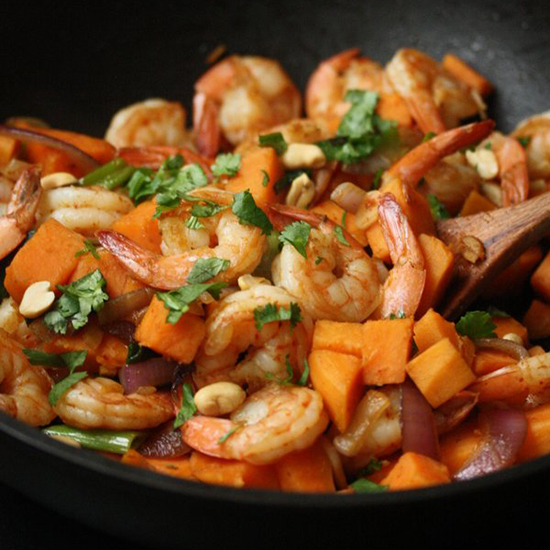Curried Shrimp and Sweet Potato Stir-Fry