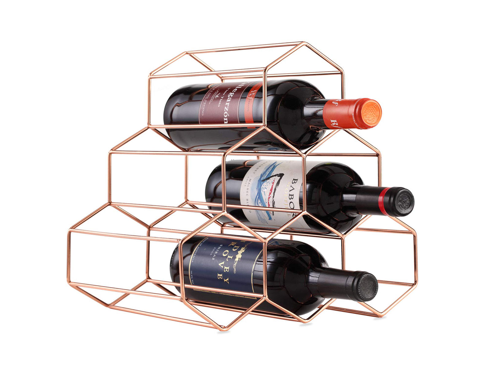 Buruis 6 Bottles Metal Wine Rack, Countertop Free-stand Wine Storage Holder
