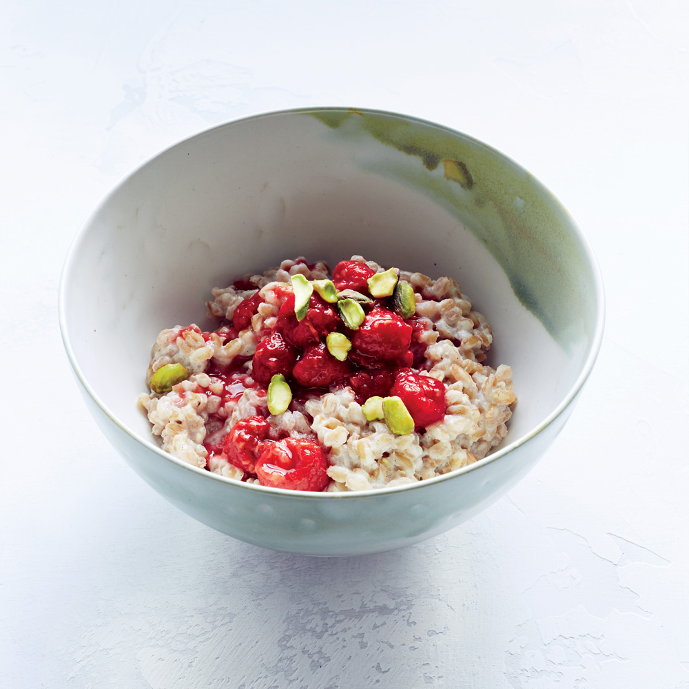 Farro Breakfast Porridge with Raspberries
