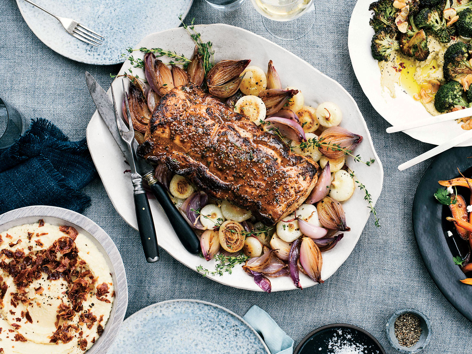 Pork Loin Roast with Caramelized Onions and White Wine-Dijon Sauce