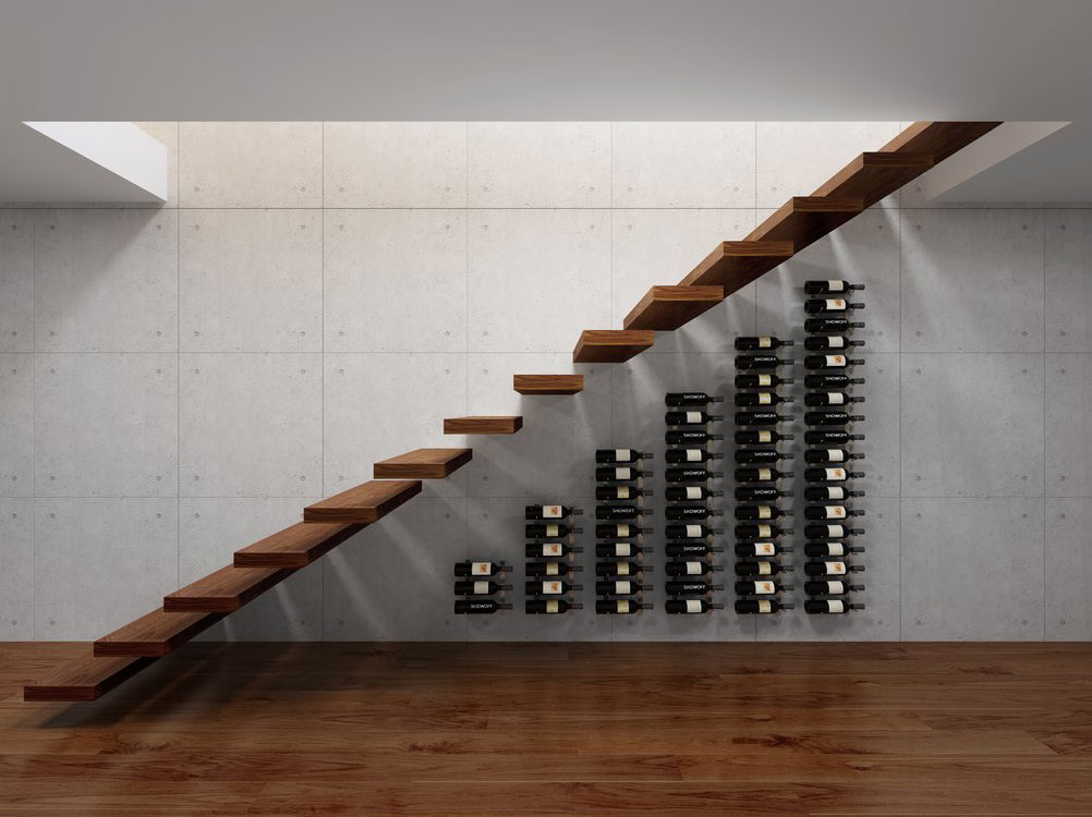 Wall Series Modular Under the Stairs 63 Bottle Wall Mounted Wine Rack