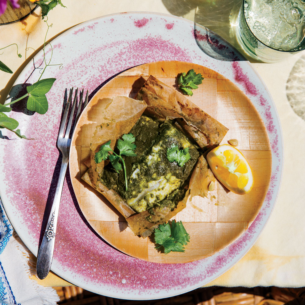 Ginger-Garlic Black Cod with Spicy Green Chutney