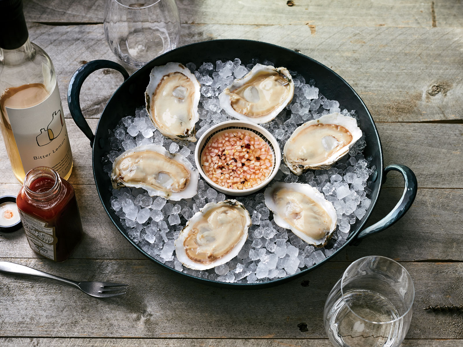 Iced Oysters with Bitter Lemon Vinaigrette
