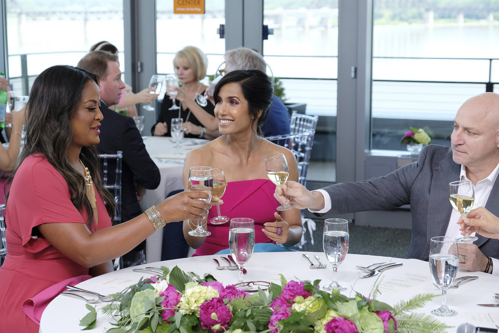 Laila Ali, Padma, and Tom at the Muhammad Ali Center dinner.
