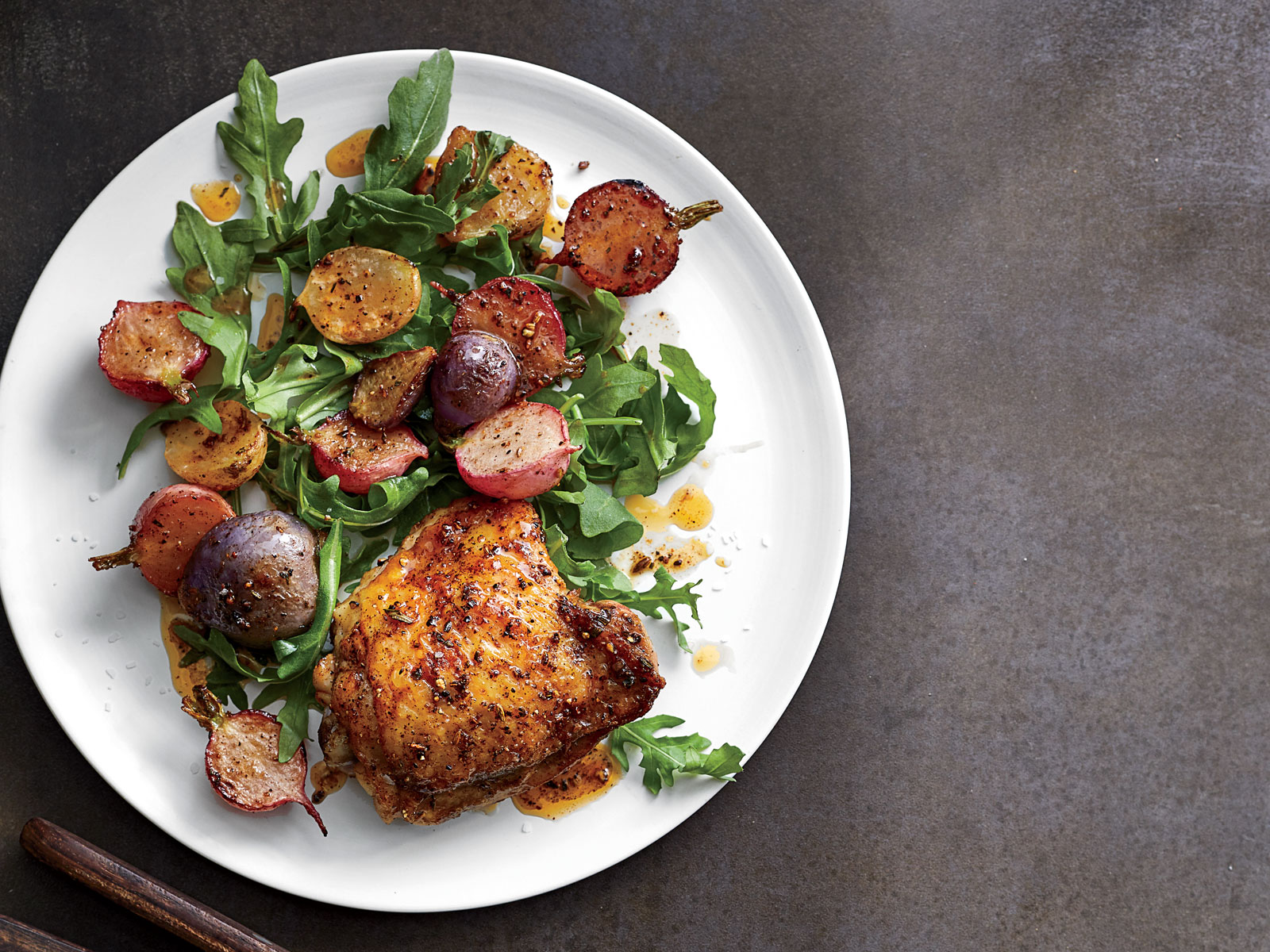 Crispy Chicken Thighs with Spice-Roasted Radishes