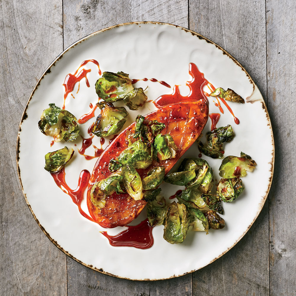 Honey Glazed Sweet Potato Steaks With Brussels Sprouts
