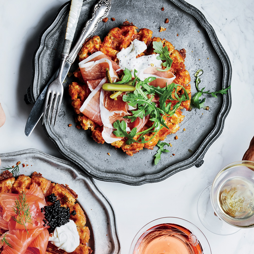 Tater Tot Waffles with Prosciutto and Mustard