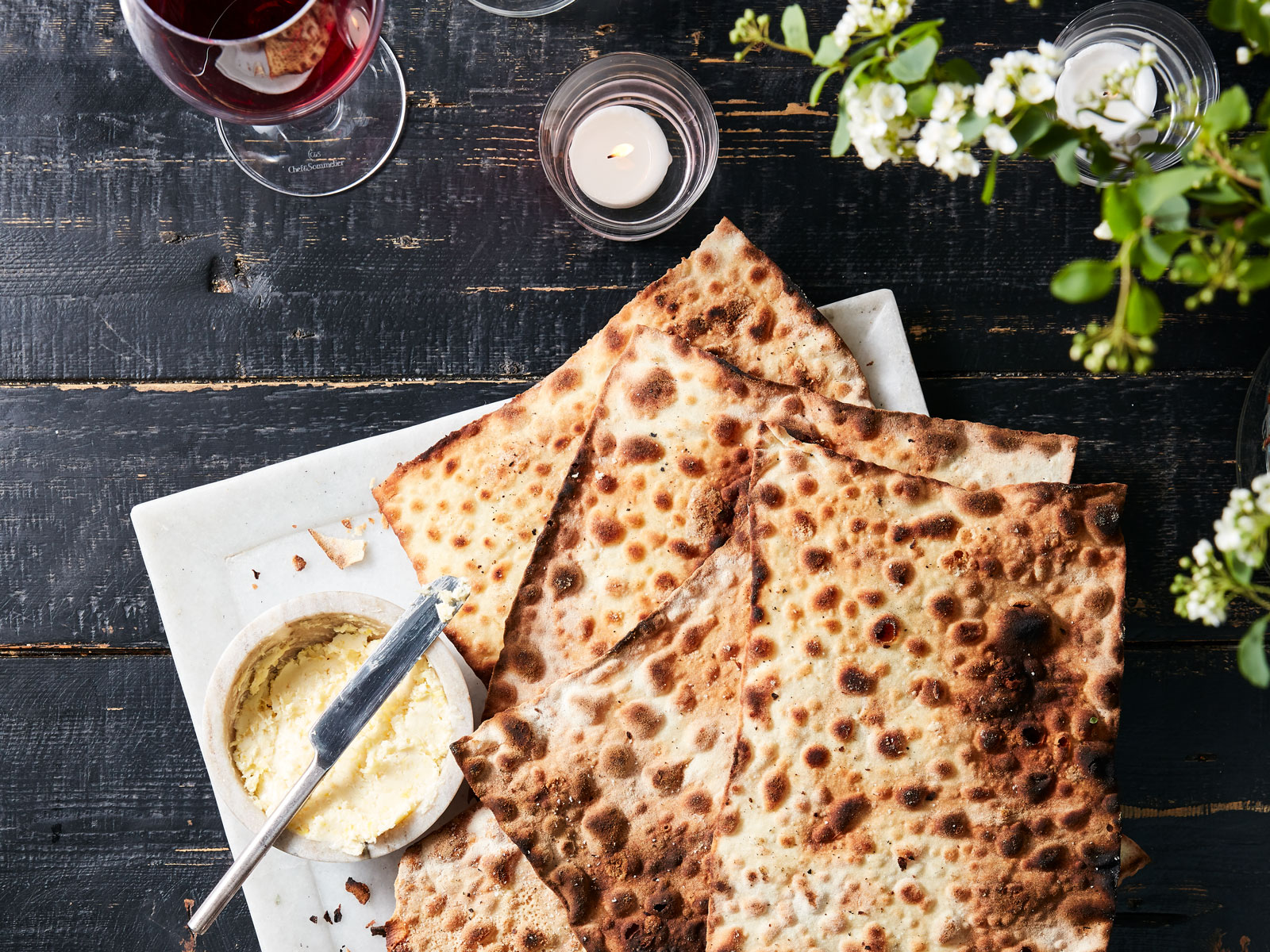 Matzo with Horseradish Butter