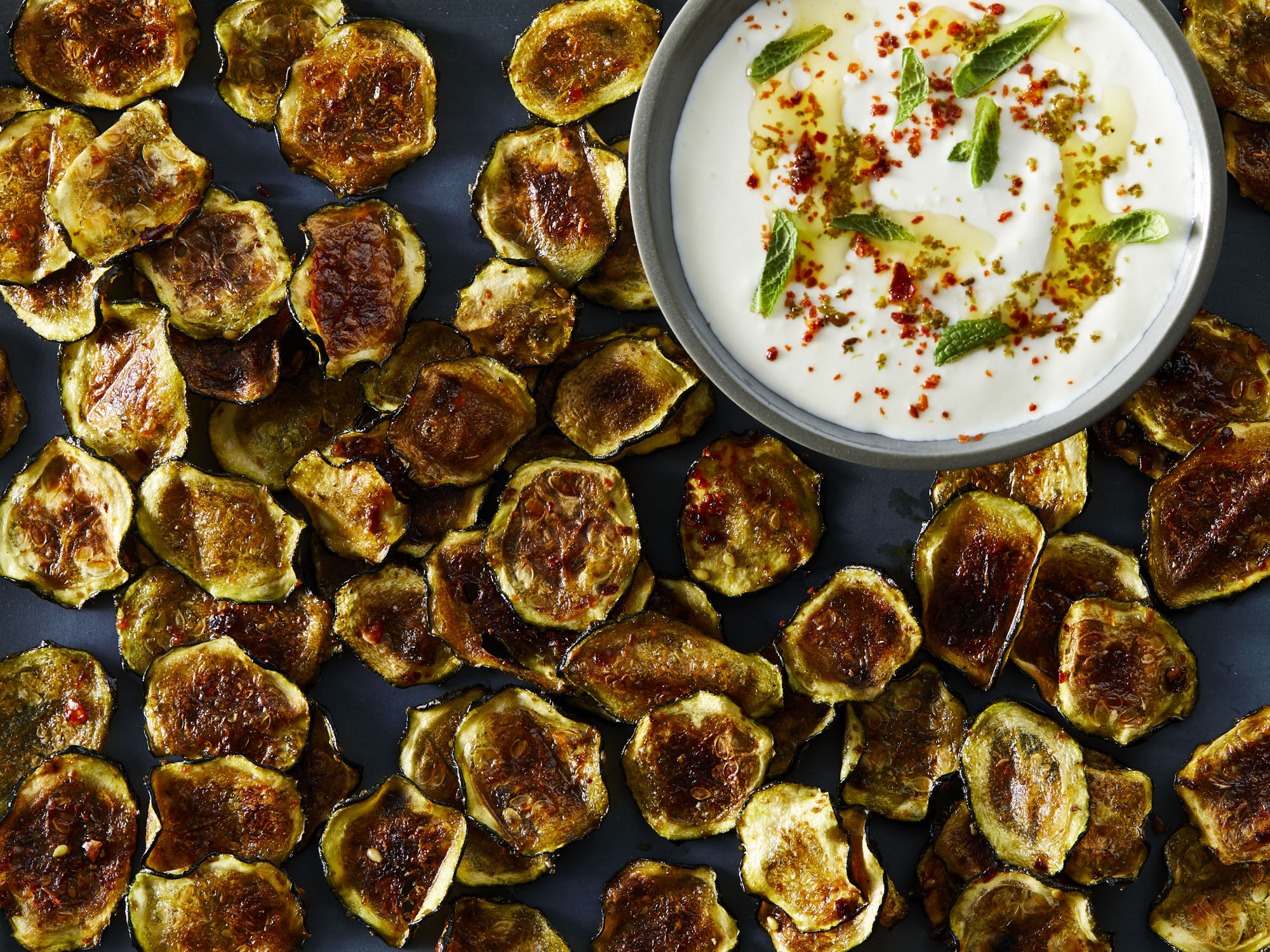 Smoky Baked Zucchini Chips with Whipped Feta
