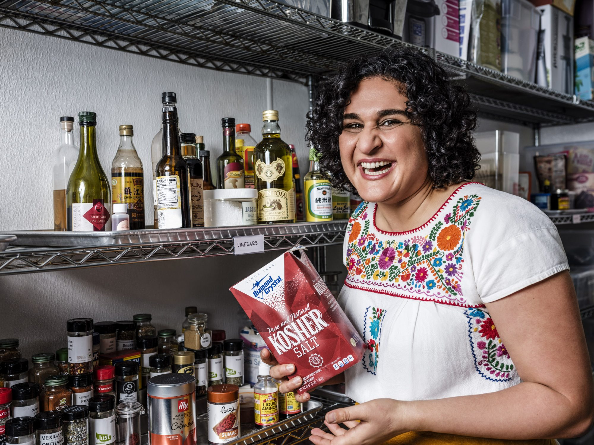 Samin Nosrat, author of Salt, Fat, Acid, Heat and star of the Netflix show of the same name, photographed in New York City on February 15, 2019.