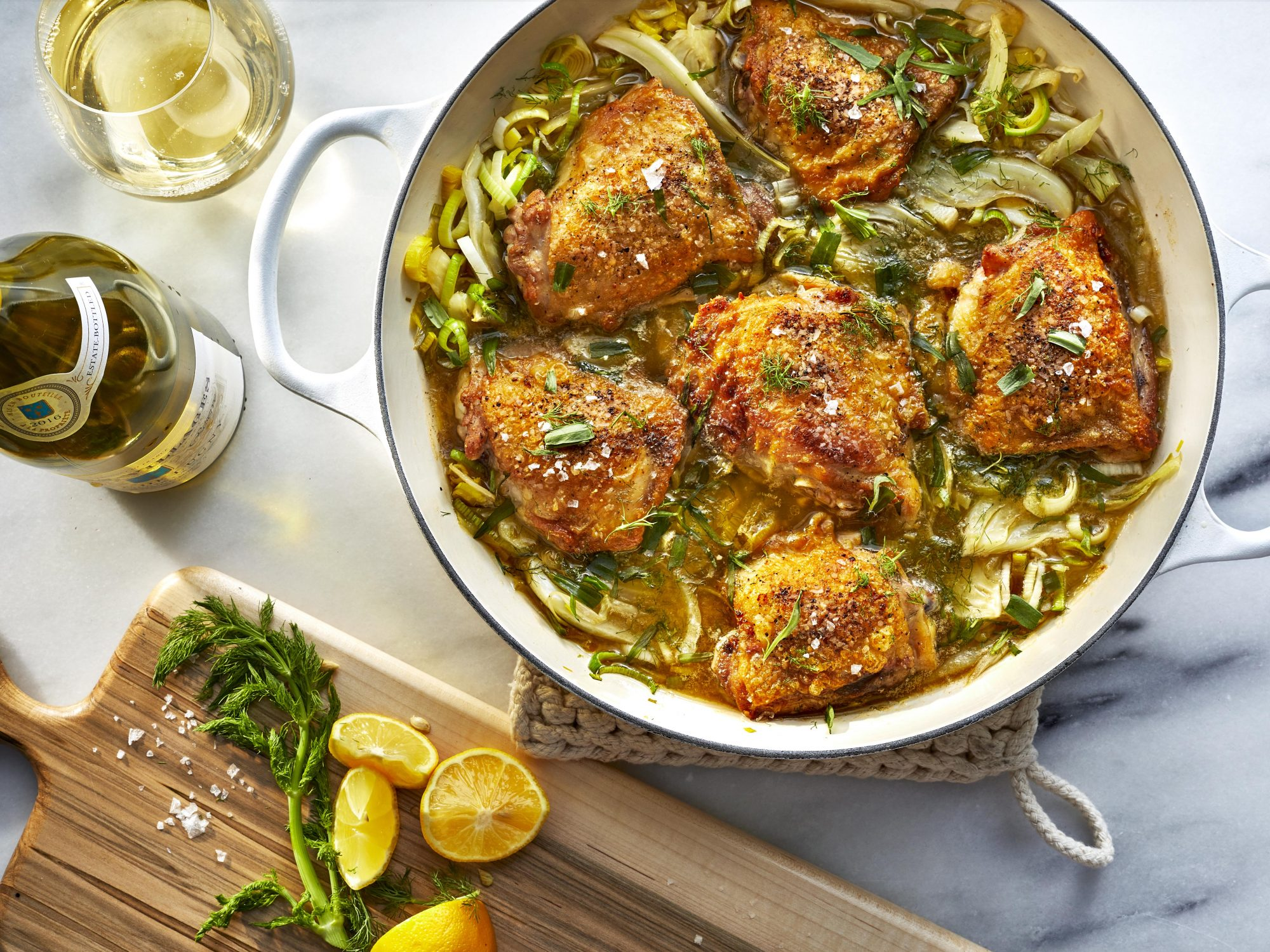 Brothy Braised Chicken Thighs with Fennel and Pernod