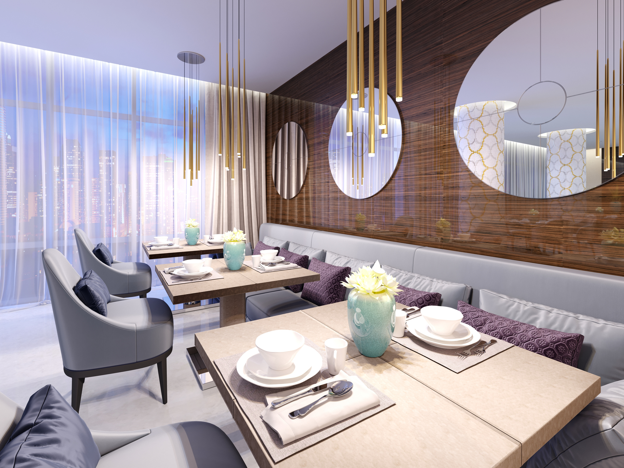 Modern restaurant with wooden decorative wall and round mirrors. Gold pendant lights. Purple sofa and chairs with tables. Served tables.