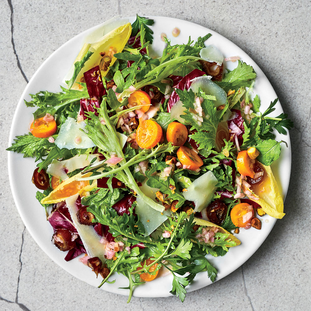 Winter Chicory Salad with Kumquats and Date Dressing