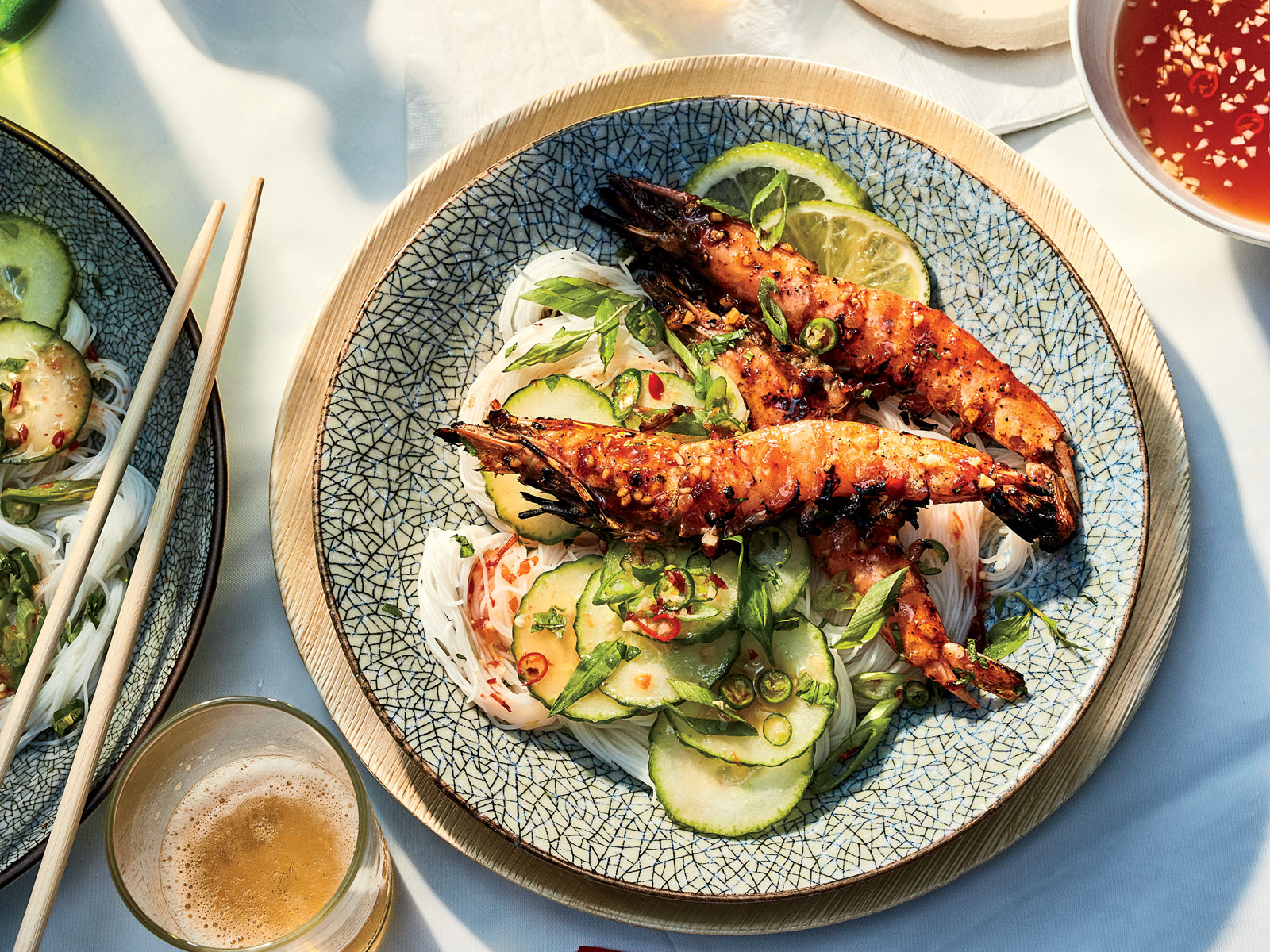 Chile Glazed Shrimp with Herbs and Rice Noodles