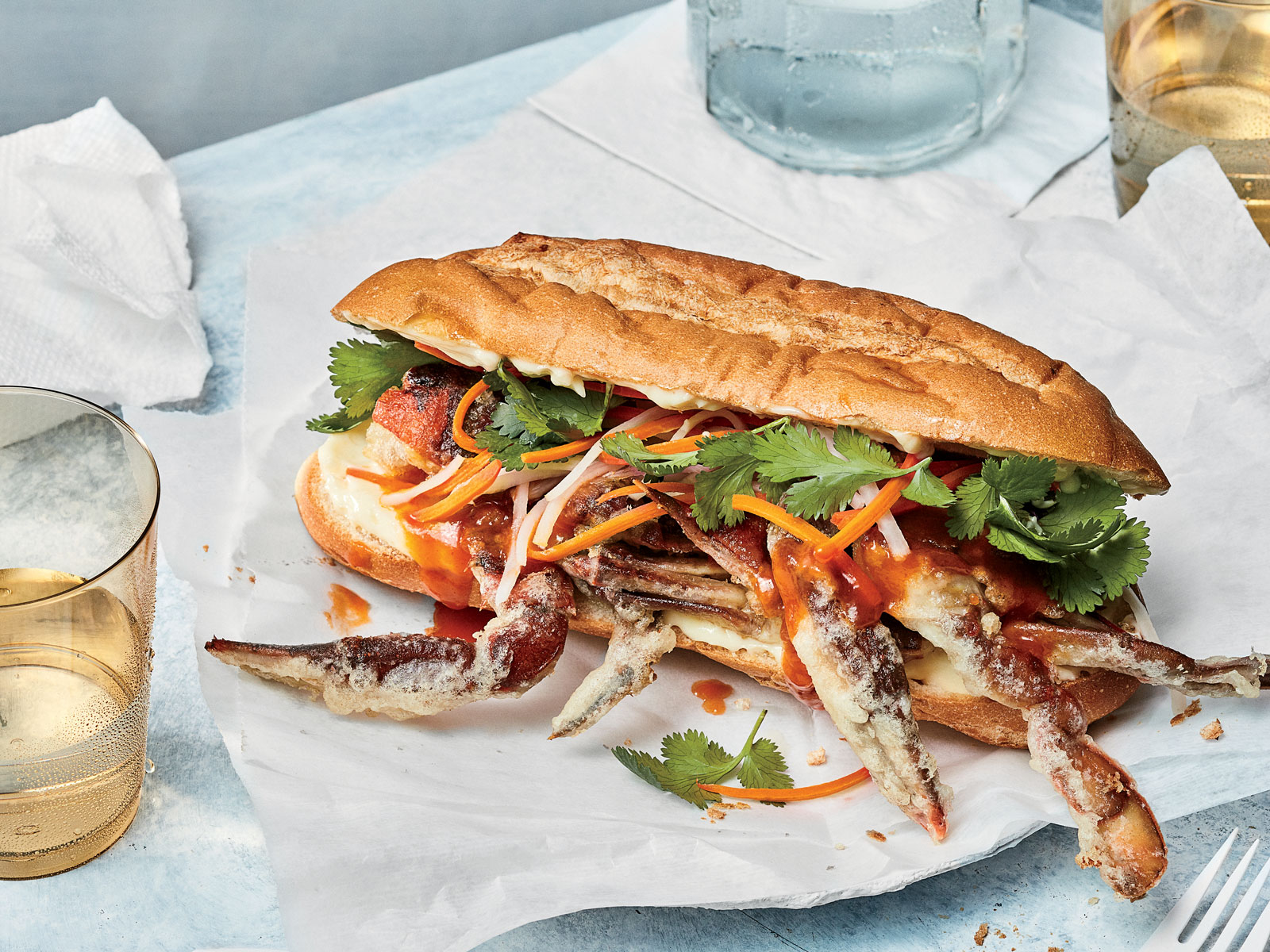 Crispy Soft Shell Crab Banh Mi with Tamarind Sauce