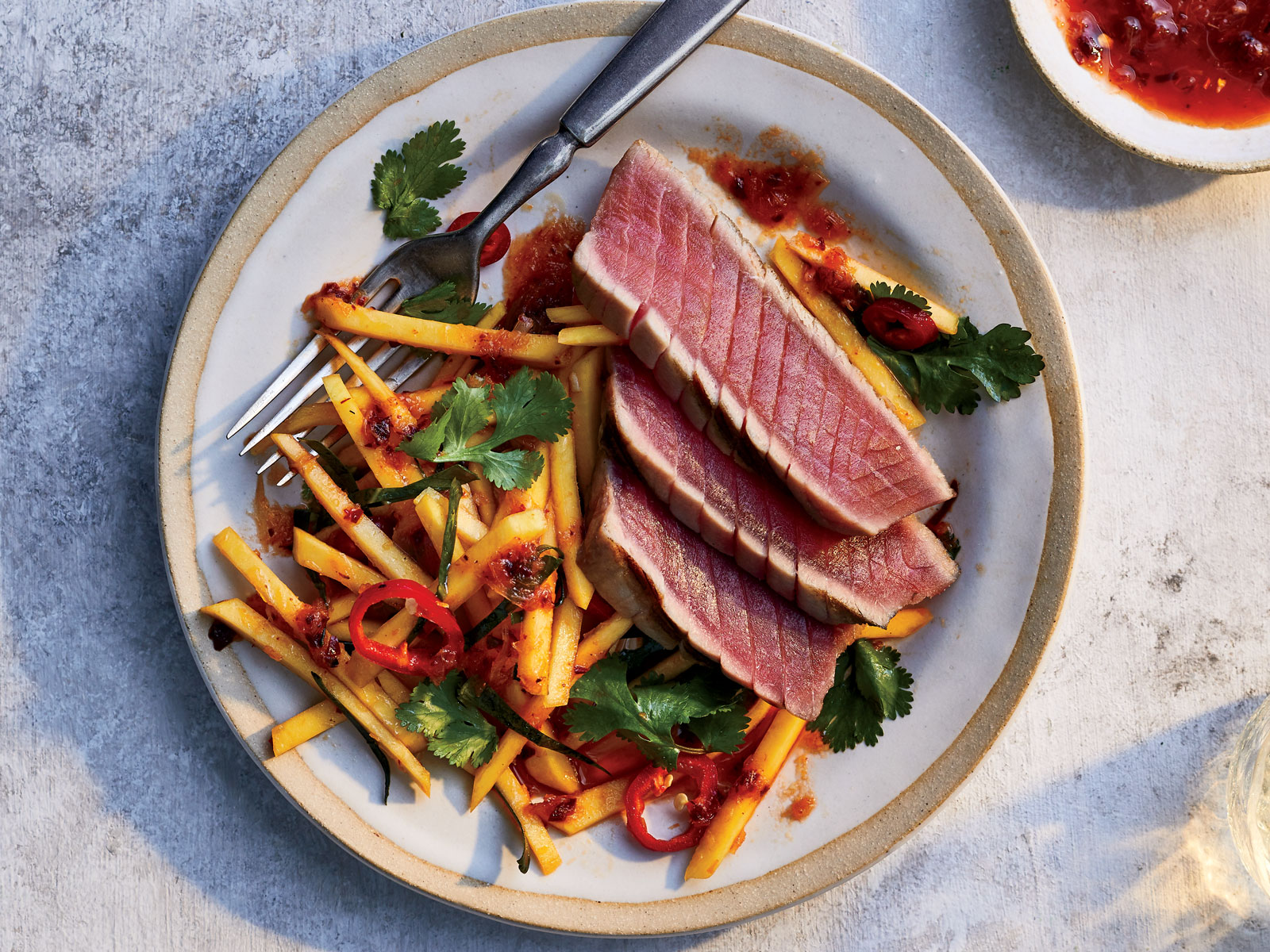 Grilled Tuna with Chile-Lime Mango Salad