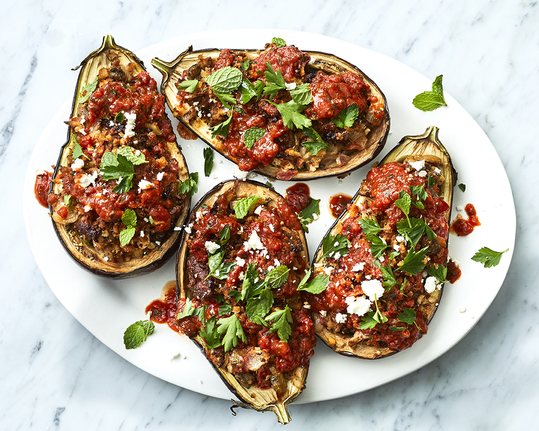 Baked Stuffed Eggplant with Italian Sausage