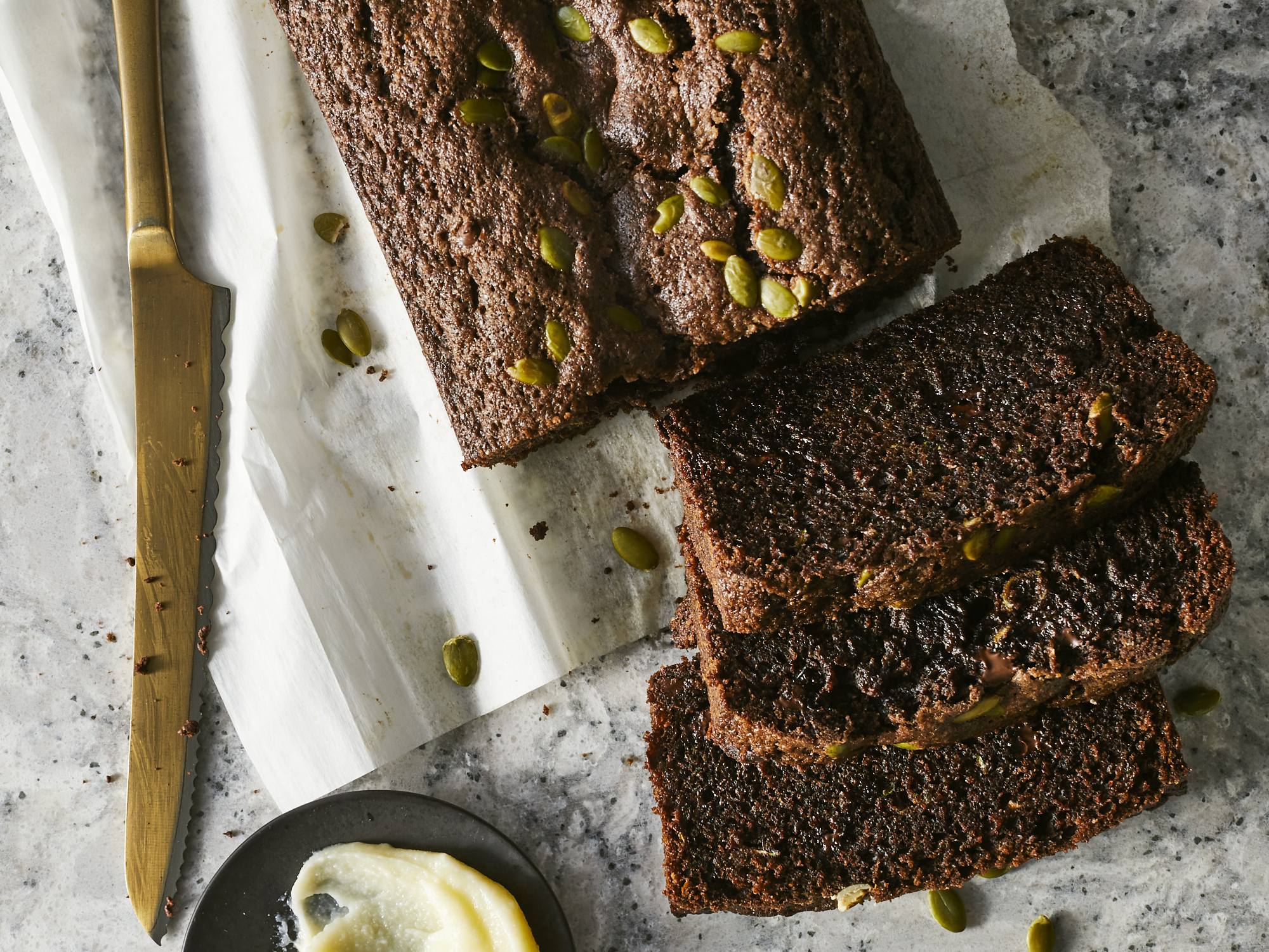 Chocolate Zucchini Bread with Pepitas