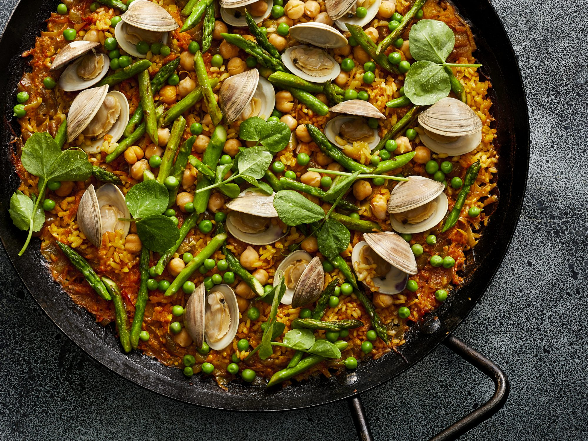Spring Green Paella with Chickpeas and Clams