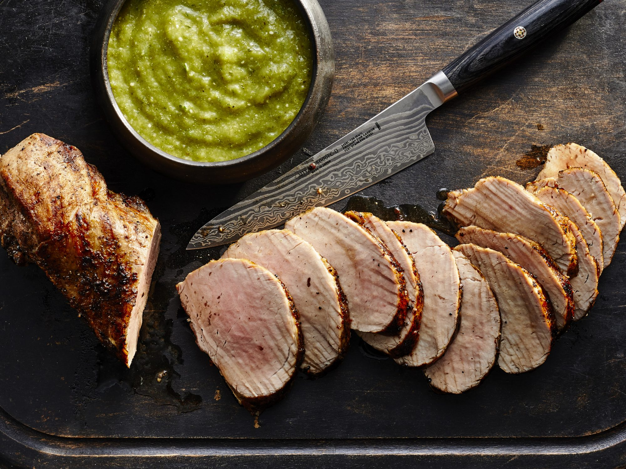 Pork Tenderloin with Charred Tomatillo Sauce