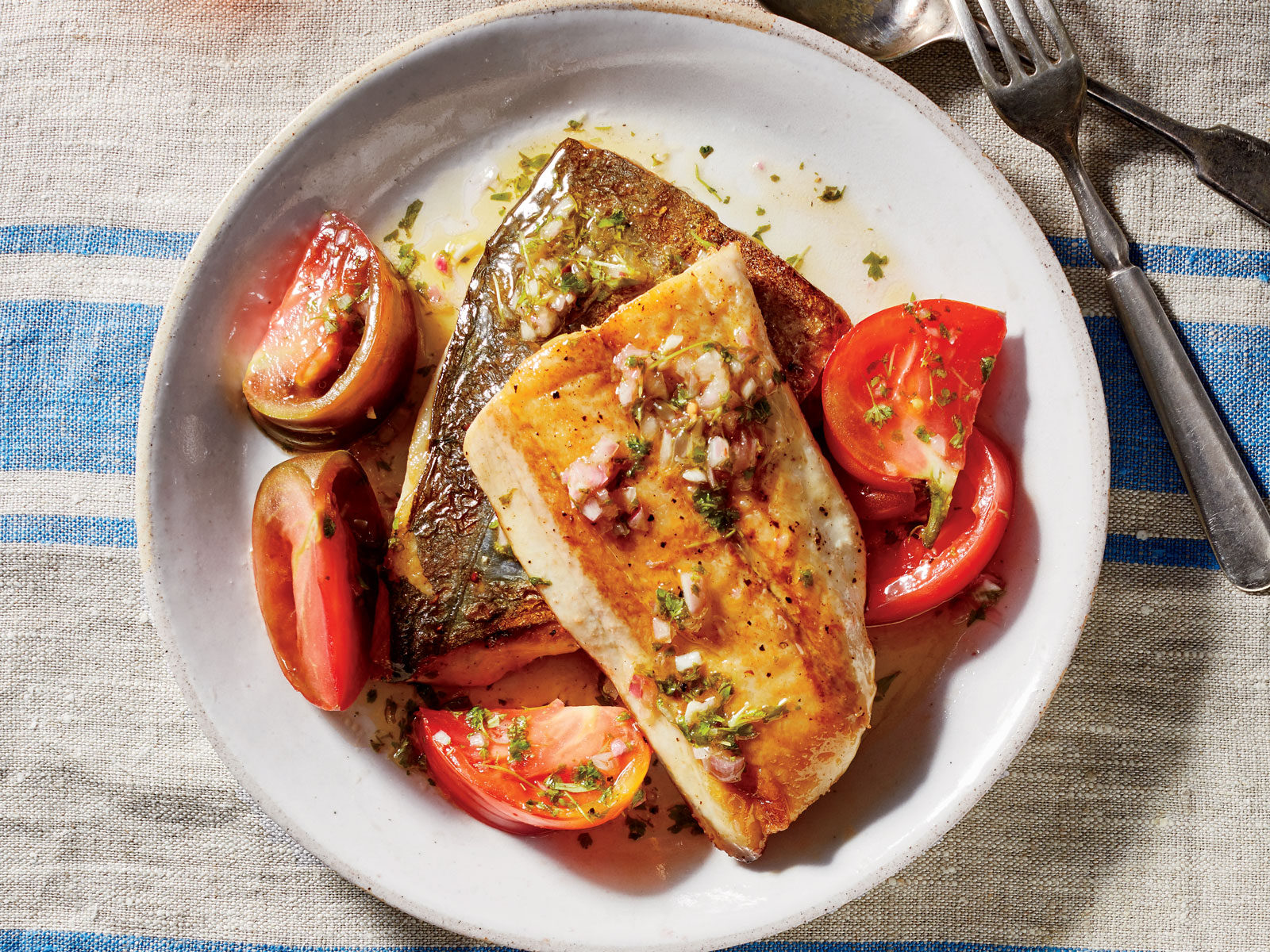 Seared Mackerel with Marinated Tomatoes