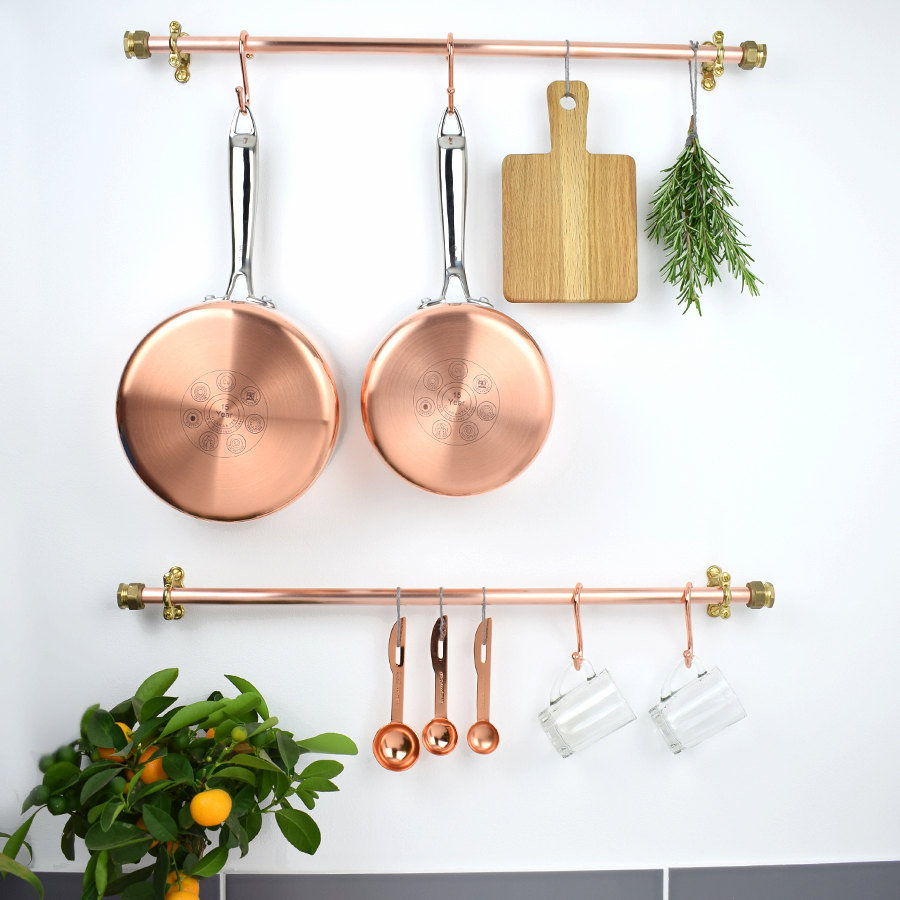 Kitchen Organization DIYs, Brass Pot Rail