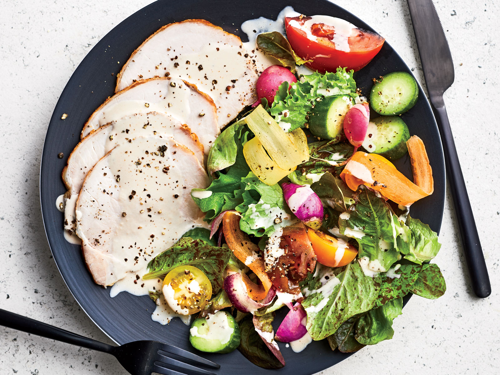 Pork Loin with Tonnato Sauce and Summer Salad