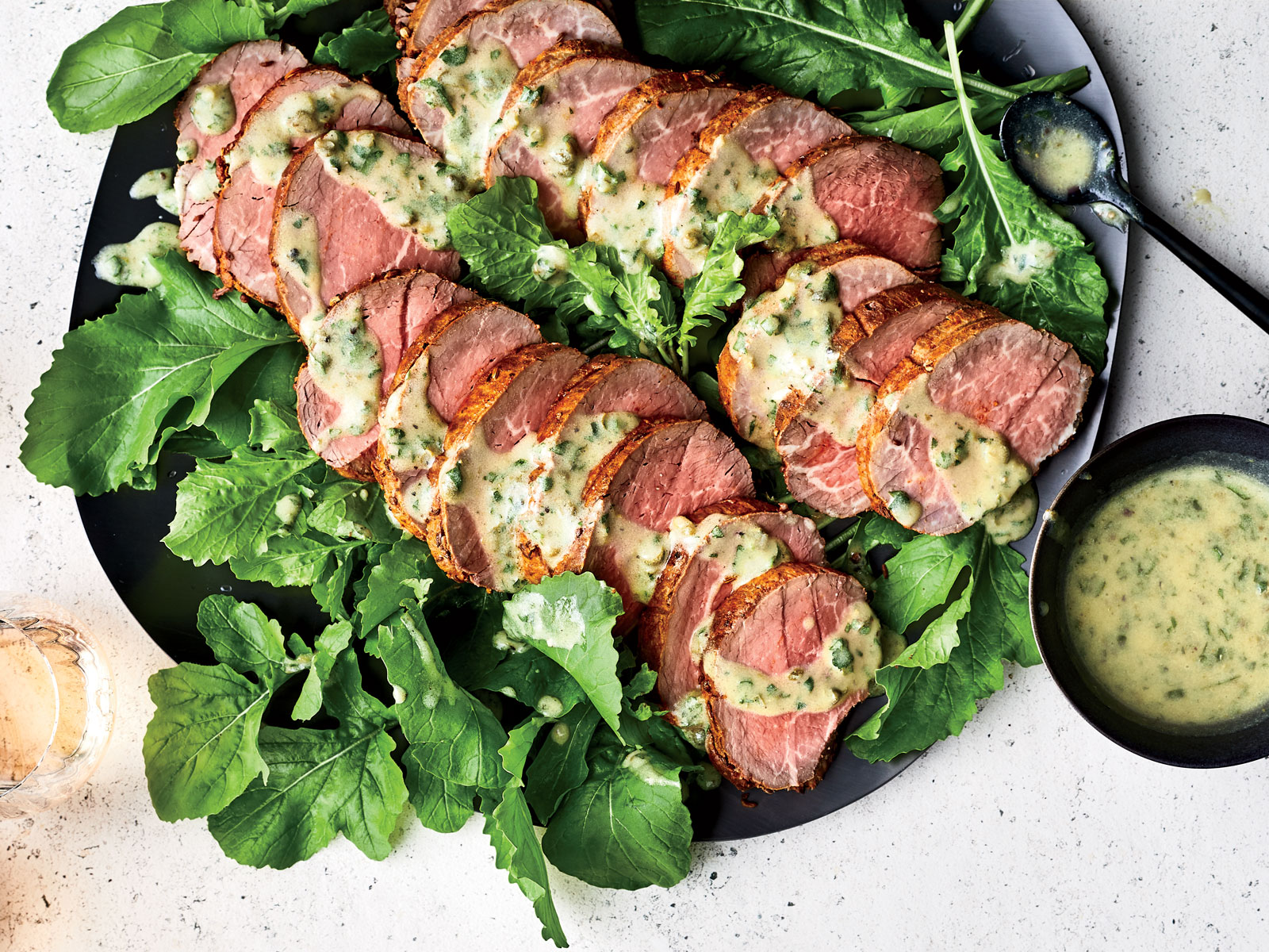 Spice Crusted Beef Tenderloin with Caper Vinaigrette