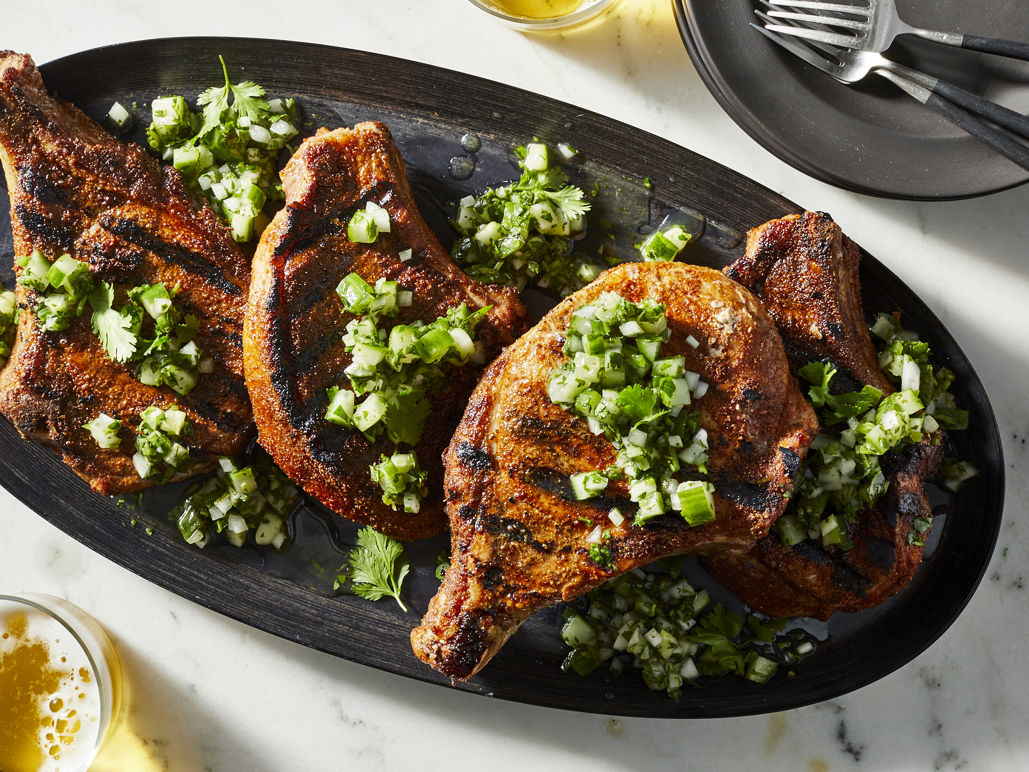 Spiced Pork Chops with Cucumber Pico de Gallo