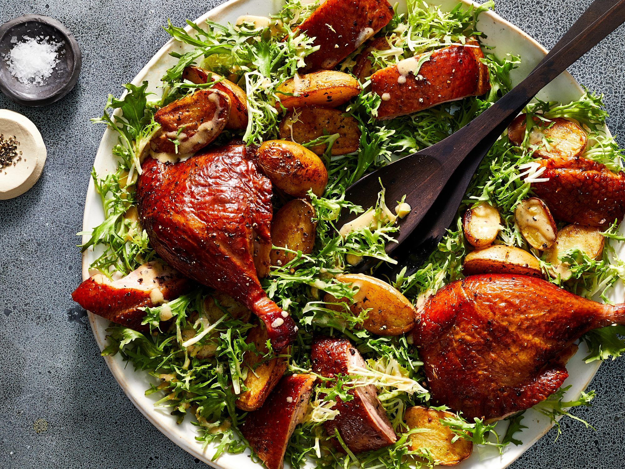 Smoked Duck with Potatoes and Frisée