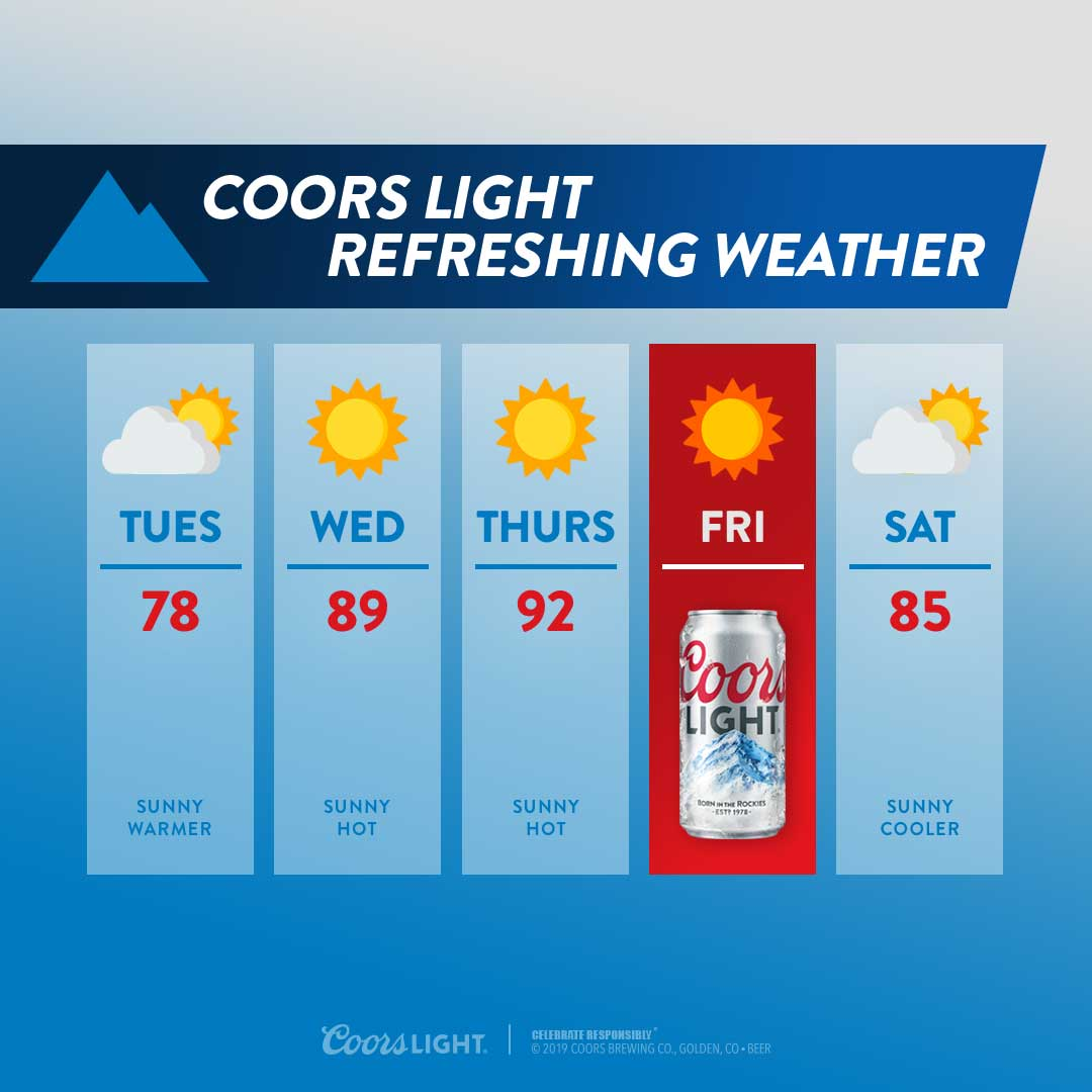 Coors Light refreshing hot weather