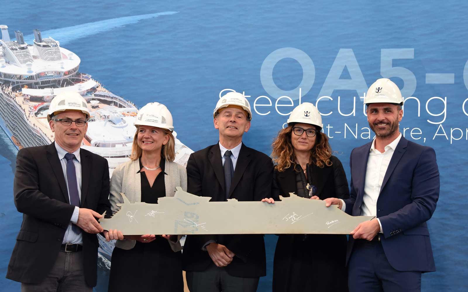 Royal Caribbean International celebrated the steel cutting of a fifth Oasis Class ship