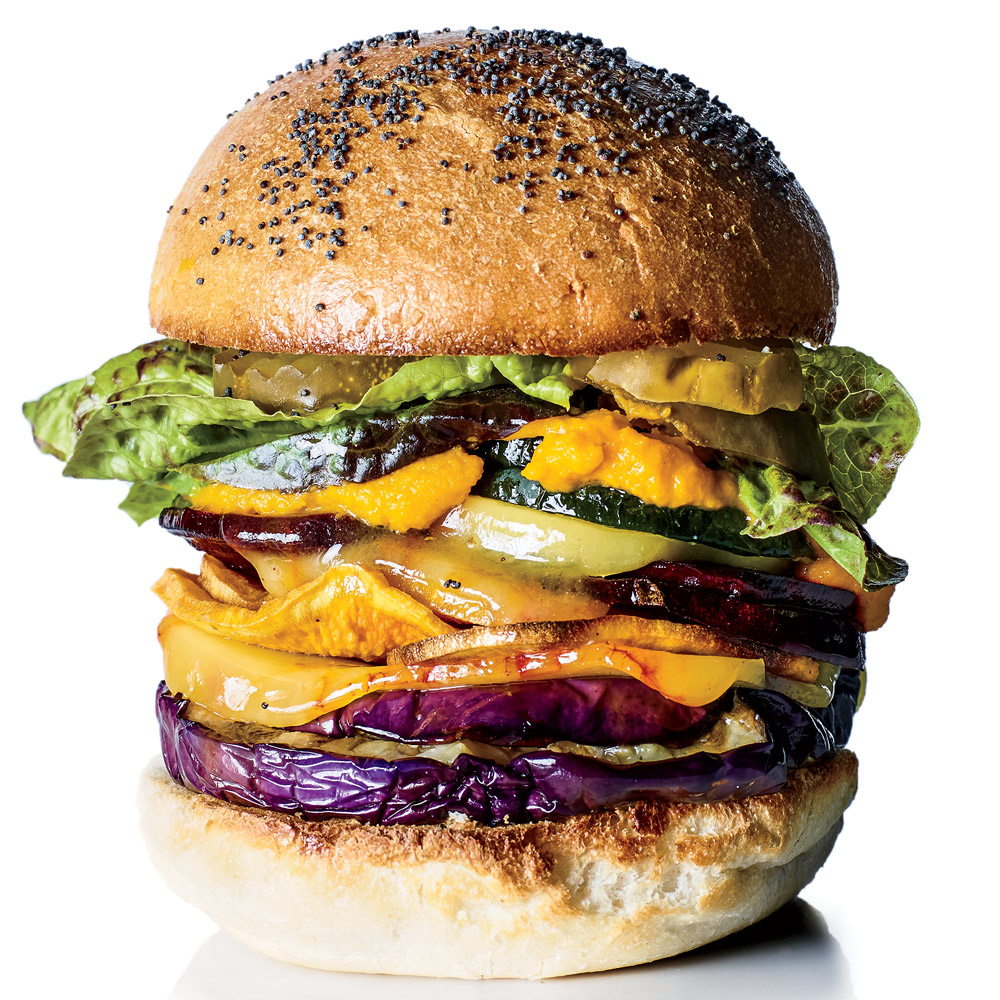 Roasted Veggie Burgers with Carrot Ketchup