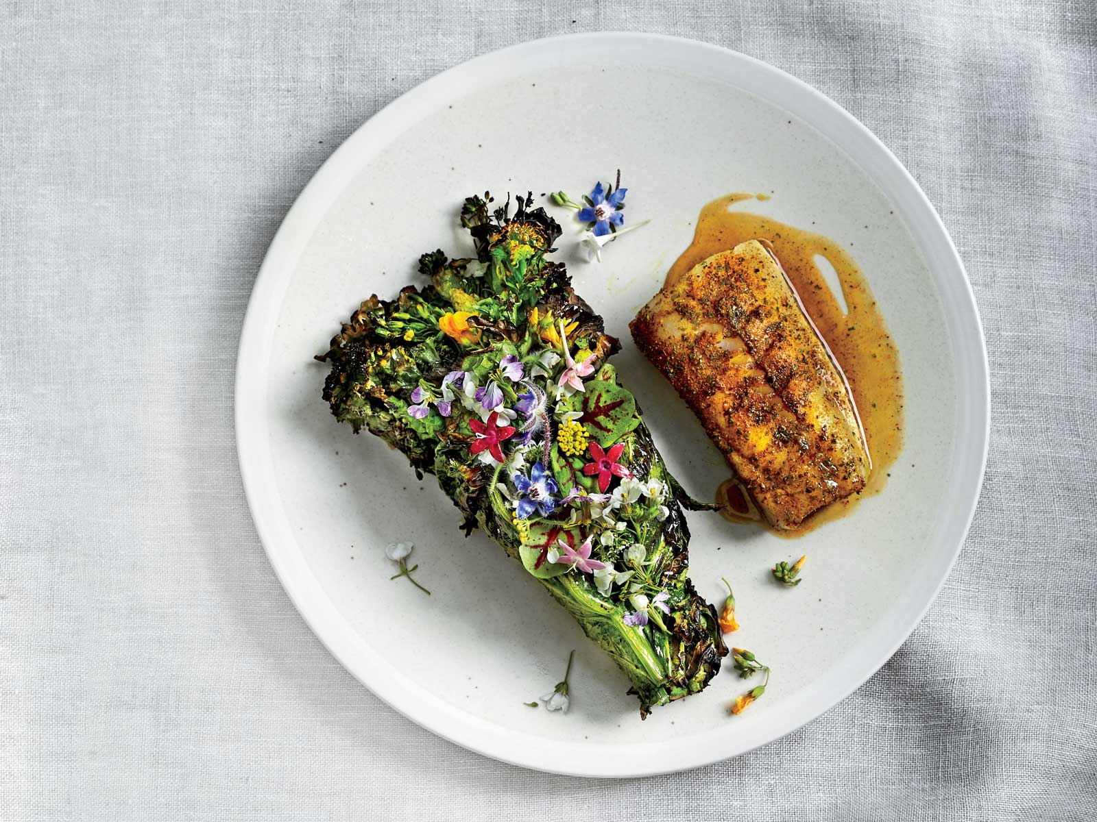 Grilled Black Cod and Herb Bundles with Elk Spice