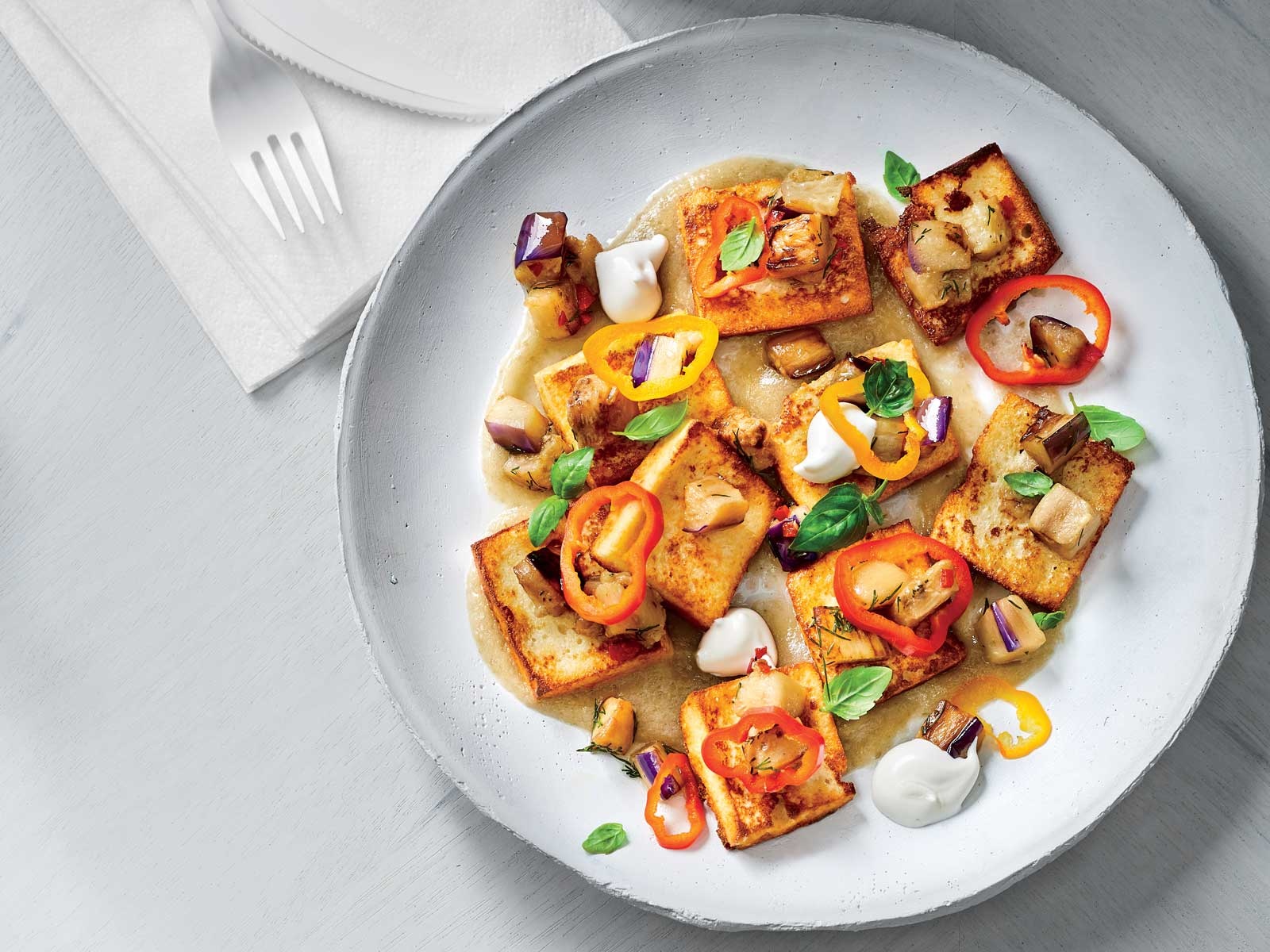 Ricotta Gnocchi with Eggplant and Peppers