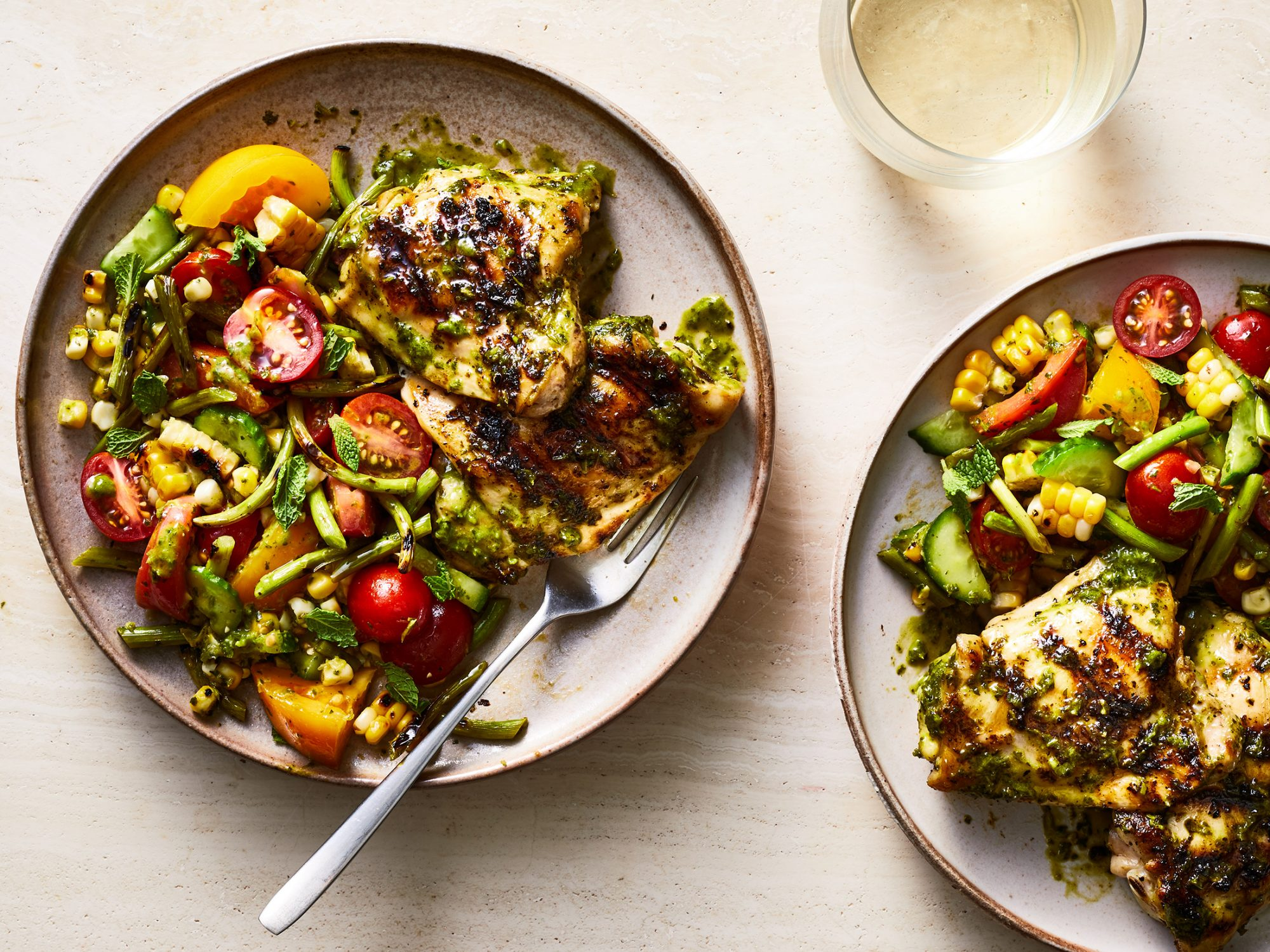 Grilled Garlic Scapes Salad with Lemony-Herb Chicken Thighs image