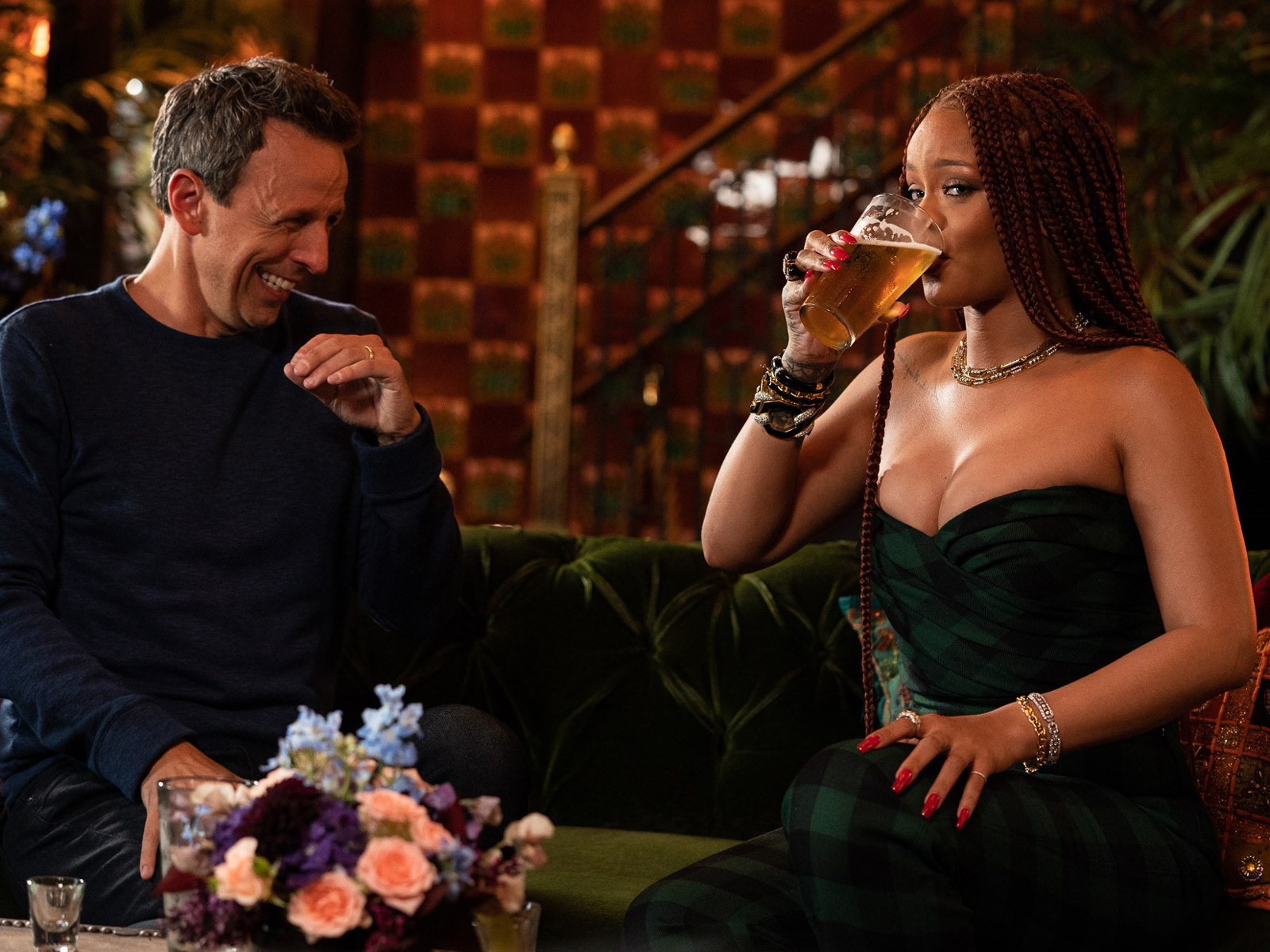 Watch Seth Meyers Make Rihanna Cocktails Inspired By Her Songs