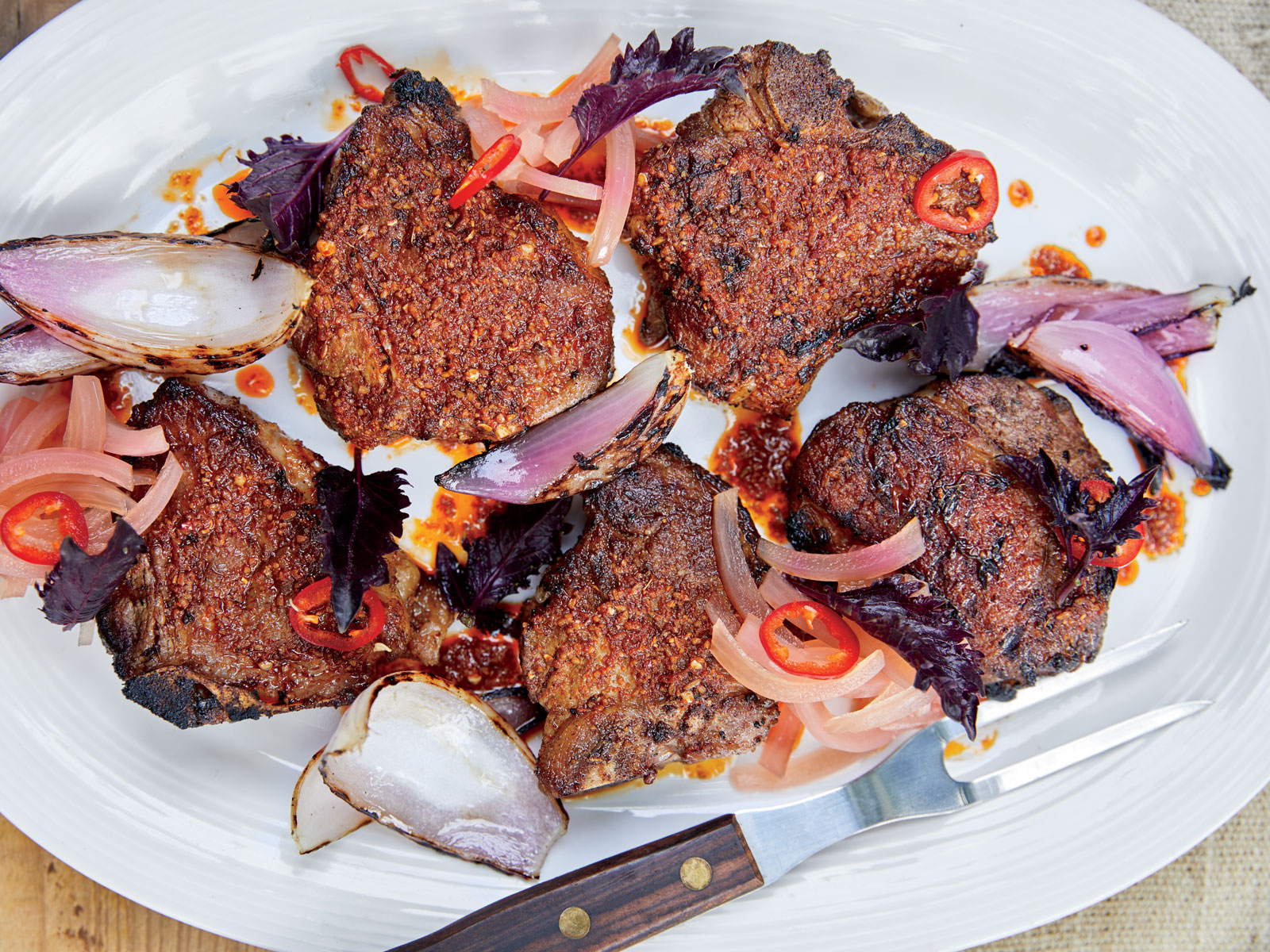 Chermoula-Grilled Porterhouse Lamb Chops