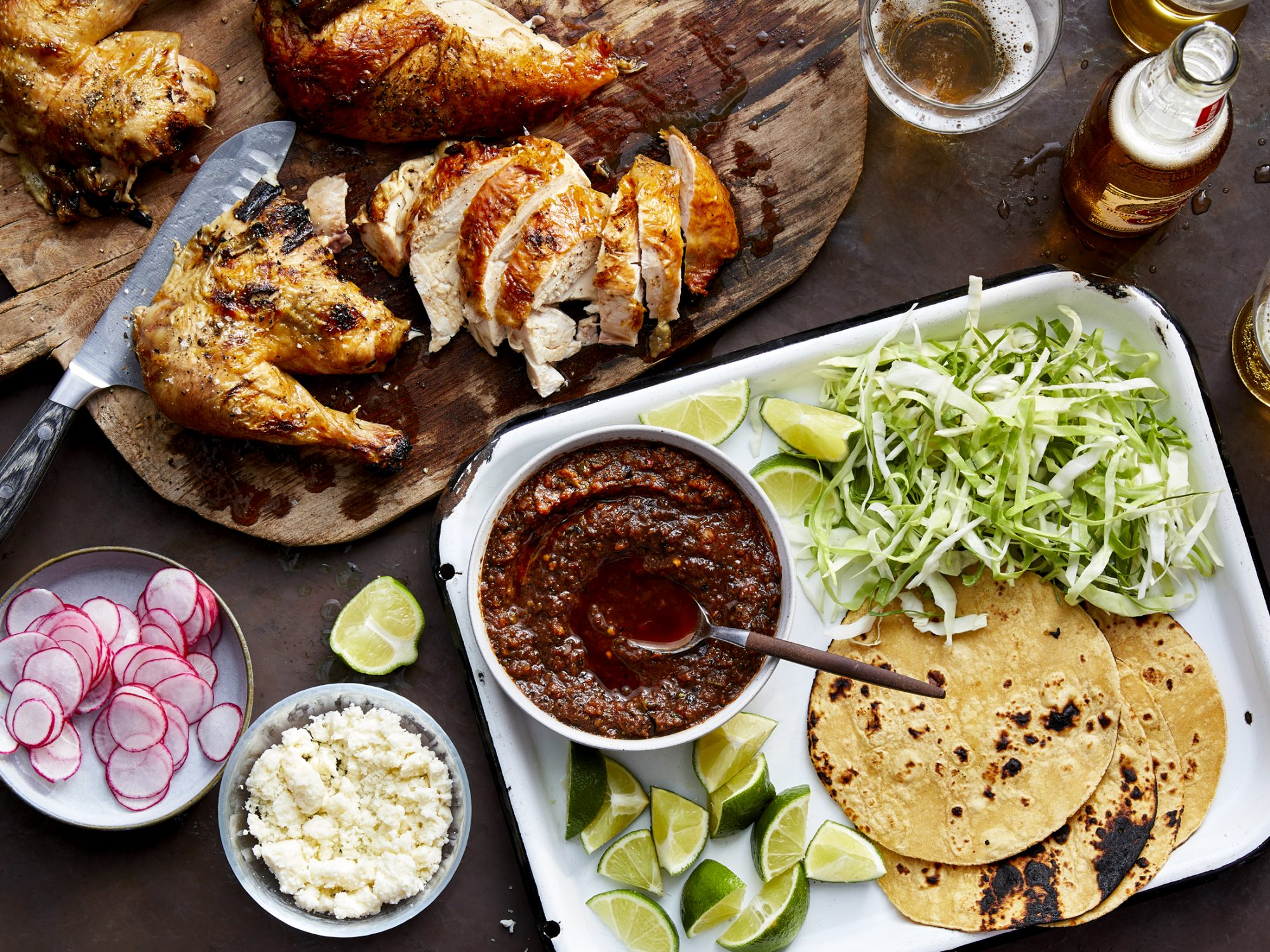 Grill-Roasted Chicken and Tomato–Red Chile Salsa