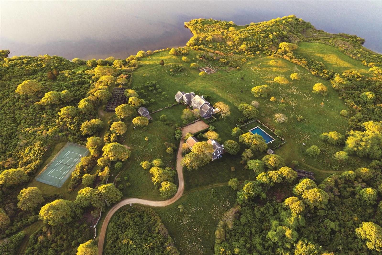 Jackie Kennedy Onassis Martha's Vineyard Estate For Sale Aerial