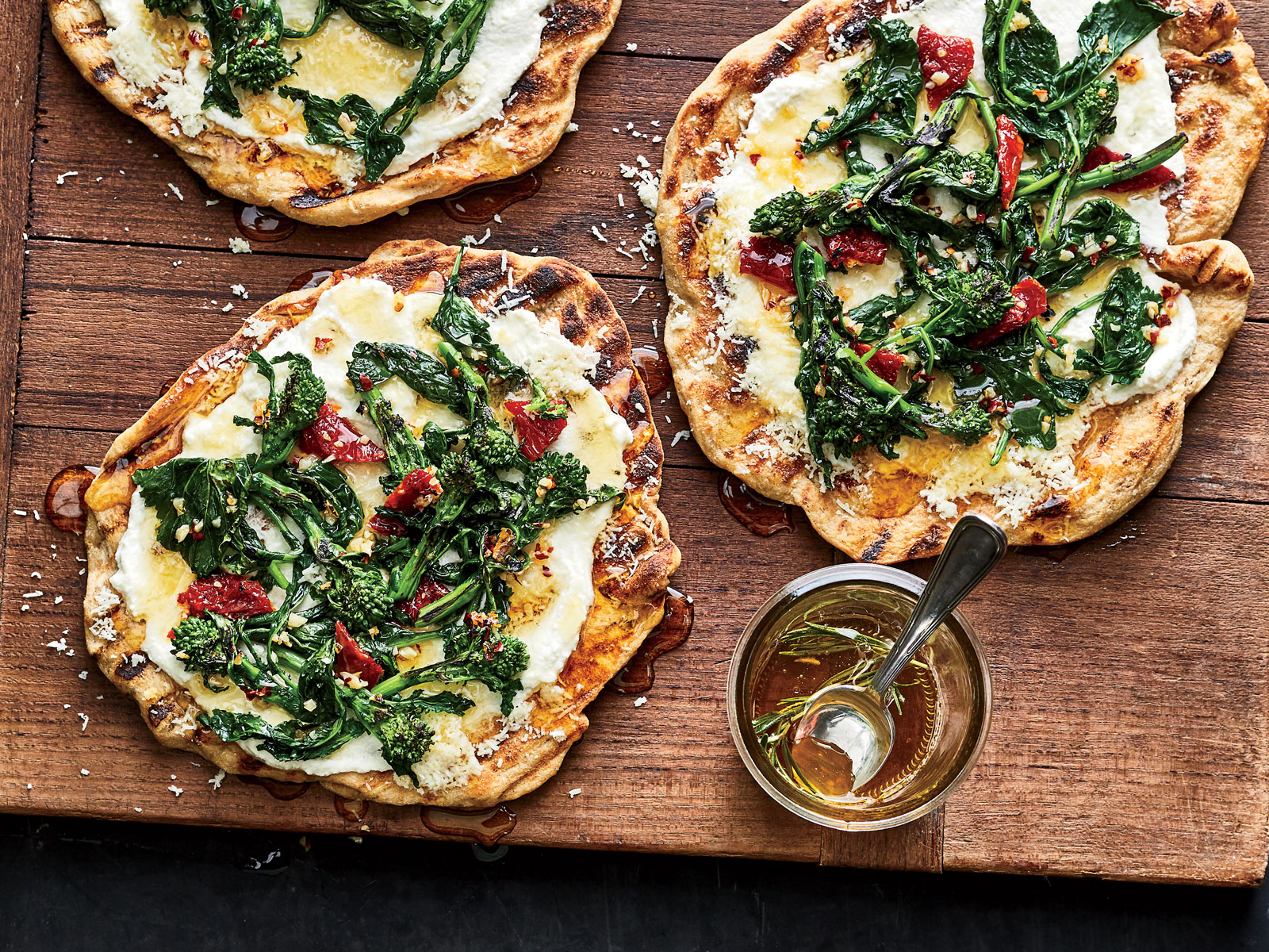 Grilled Flatbreads with Broccoli Rabe