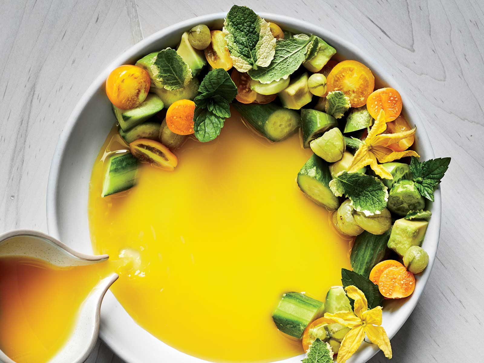 Cucumber-Avocado Salad with Gooseberry Piri Piri Soup
