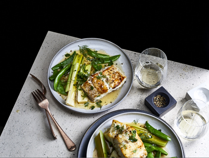 Cod with Lemony Leeks, Snap Peas, and Herbs