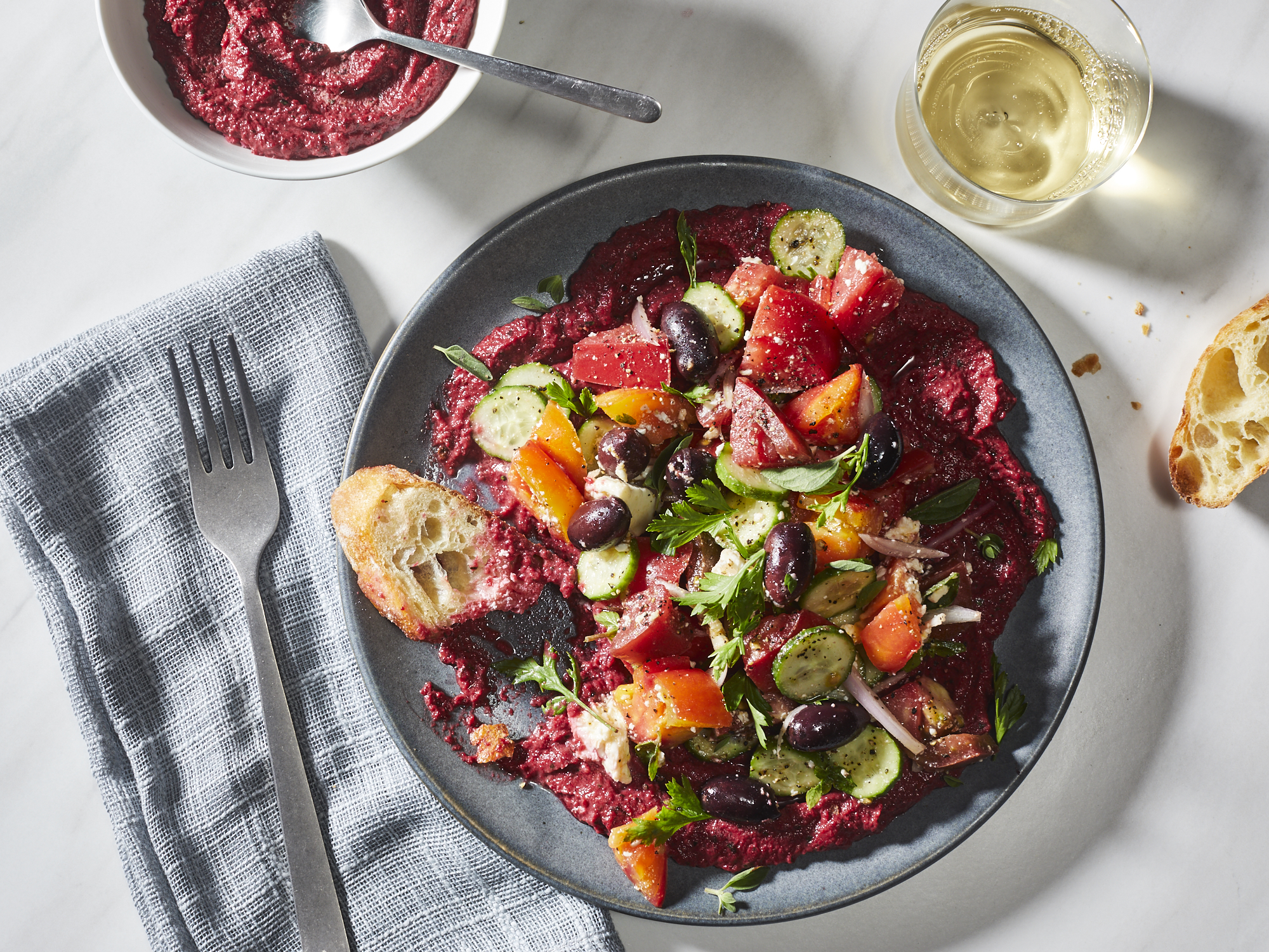 Horiatiki Salad with Beet Hummus