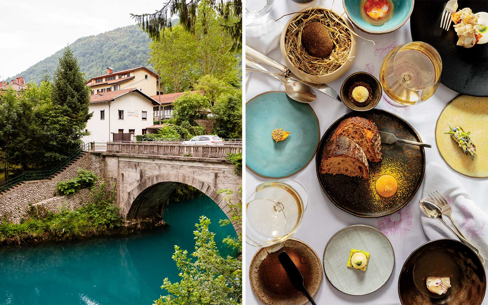 View of Kobarid, Slovenia, and dishes from Hisa Franko restaurant
