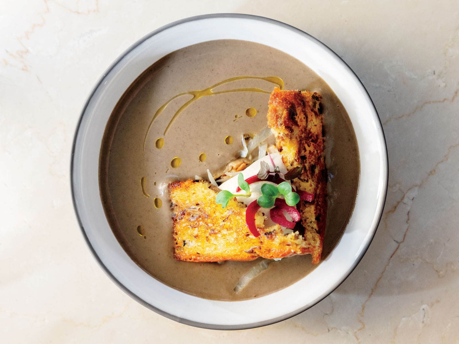 Lentil Veloute with Cabbage and Toasted Brioche Recipe