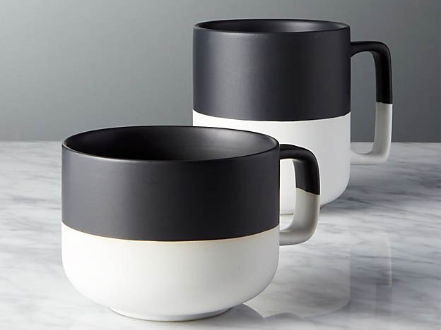 CB2 Black Dip Large Mug