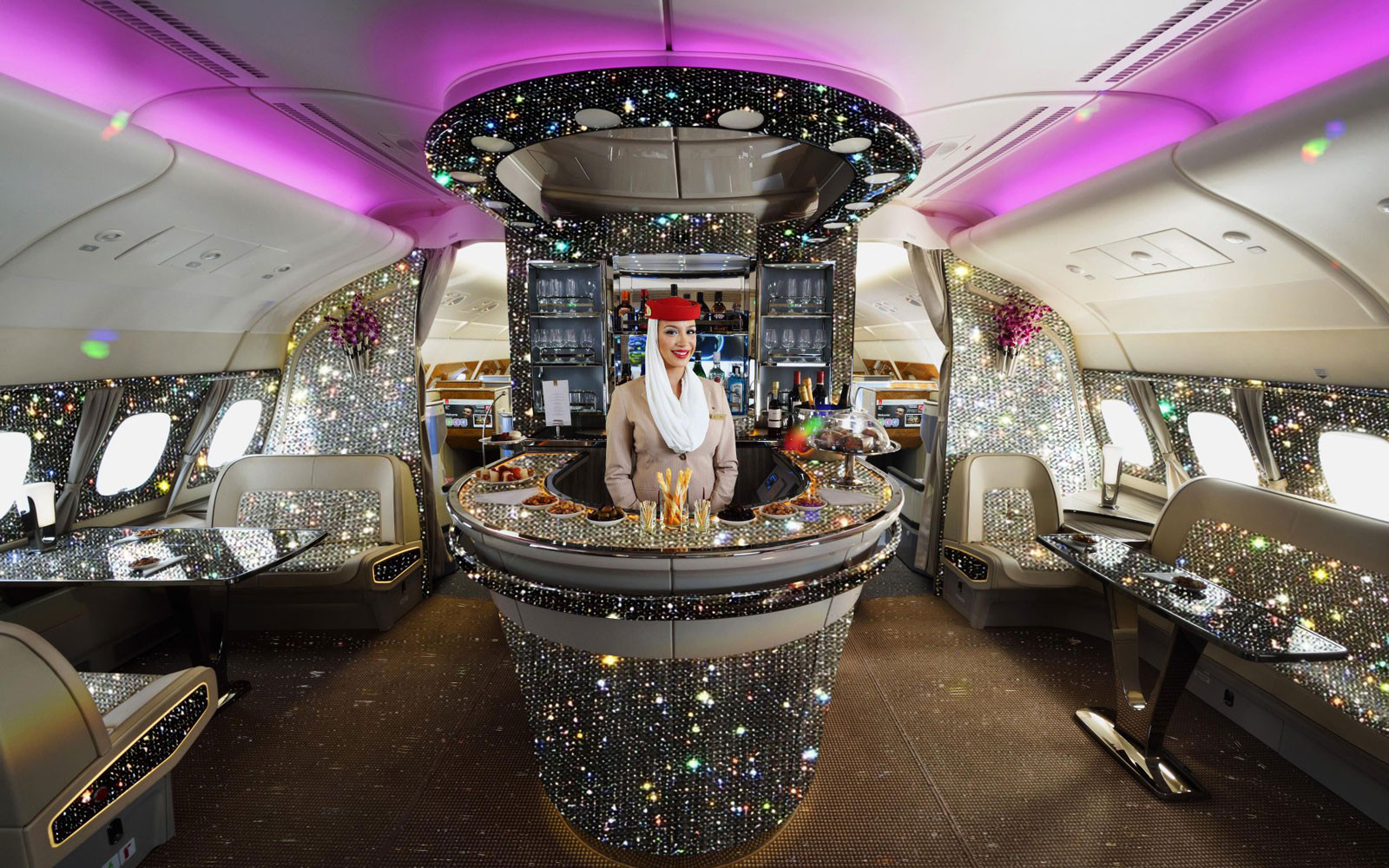 Emirates Just Released a Photo of Its First Class Bar Blinged Out in 500,000 Crystals